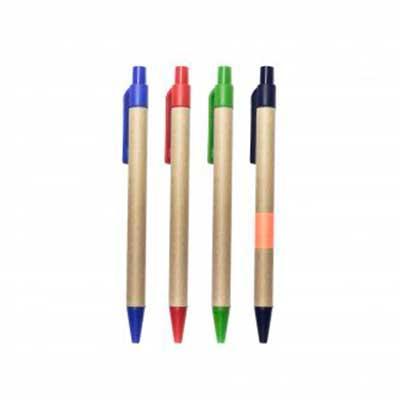 Caneta ecológica em papelão, cores diversas Logo em uma cor.