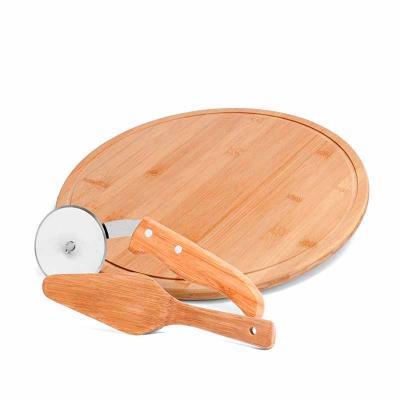 Conjunto para Pizza em Bambu/Aço Inox. Acompanha tábua e espátula em Bambu e cortador de Pizza em...
