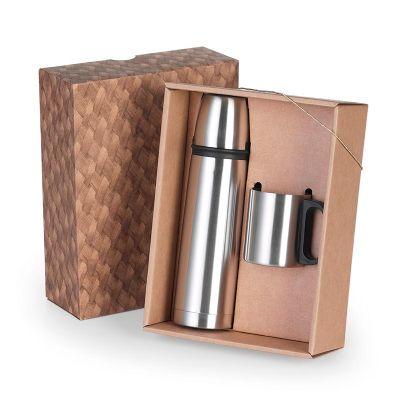 BTM Brindes - Caixa com squeeze 500 ml com tampa e caneca 200 ml de inox