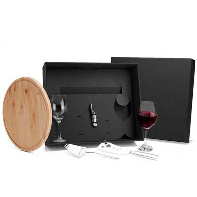 Kit para queijo e vinho Conta com tábua 30cm em Bambu; abridor de vinho, plaina com garfo e faca ...