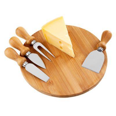 btm-brindes - Kit para queijo com tábua em bambu