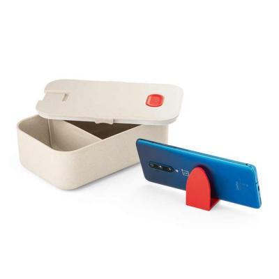 Marmita. Fibra de bambu e PP. 1000 ml. 1 divisória. Com suporte para celular. Apto para microonda...