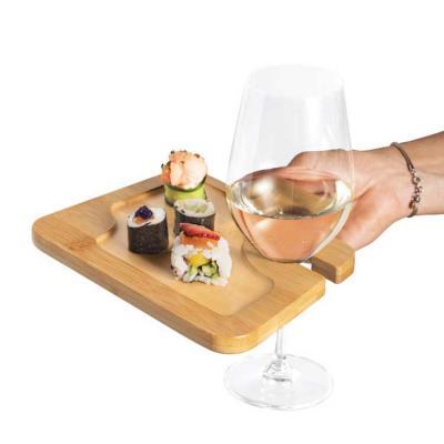 Prato. Bambu. Com suporte para copo. Ideal para servir aperitivos. Food grade. 200 x 147 x 13 mm ...
