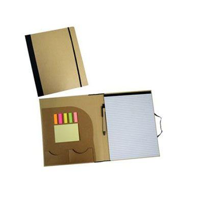 Agita Brindes - Pasta de convenção ecológica promocional, bloco com 25 folhas (Tamanho A4 – folha pautada somente na frente, verso liso), com porta cartões, stiky not...