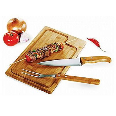 "- Kit churrasco. Conjunto composto por: 01 Faca de 7"""", 01 Garfo Trinchante e 01 Tábua de 32 cm. Produtos confeccionados em bambu e inox. Utilizamos o b..."