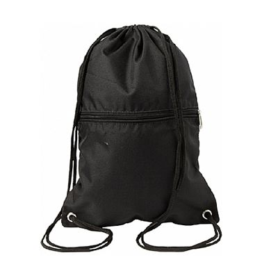 - Mochila saco em nylon impermeável com bolso frontal.