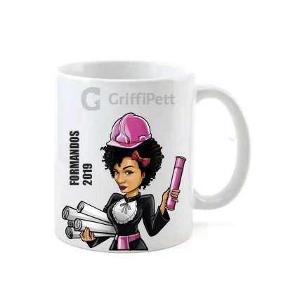 Caricatura personalizada na caneca cerâmica - GriffiPett