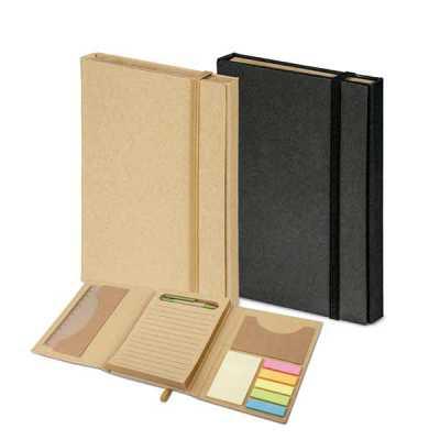 - Kit para escritório 5 em 1. Em papel cartão na cor natural ou preta. Contém: caderno 80 folhas pautadas em papel reciclado , 6 blocos adesivados (25 f...