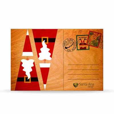 Cartão ecológico de Natal em madeira Fun