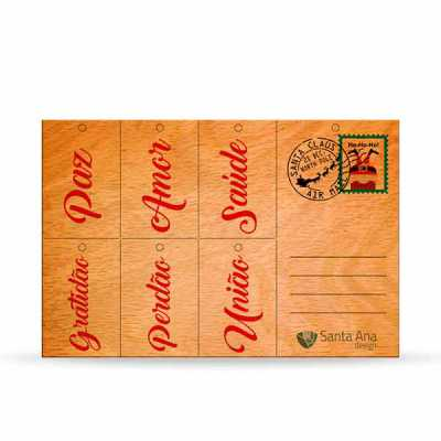 Cartão de Natal em madeira Wishes - Santa Ana Design