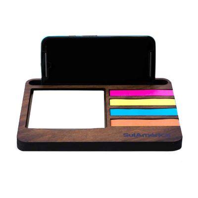 Suporte personalizado para celular com bloco de anotações em madeira ecológico - Santa Ana Design
