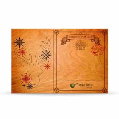 Cartão de Natal em madeira Classic