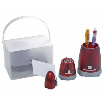 - Kit escritório personalizado contém um porta lápis um porta clips e um porta cartão, acompanha embalagem.