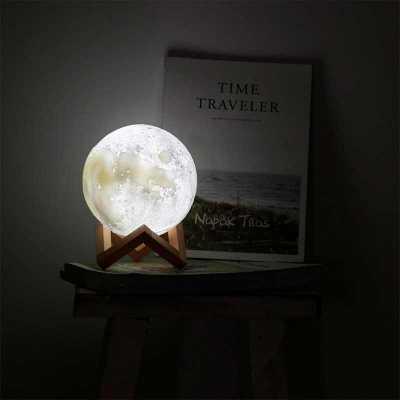 Luminária Abajur de mesa Lua LED 12cm Recarregável