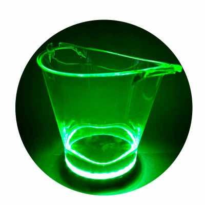 hutz - Balde com luz LED, disponível nas cores Cristal Neon, Vermelho, Branco e Verde, com bateria recarregável e fonte inclusa. Com capacidade de 4,5L, idea...