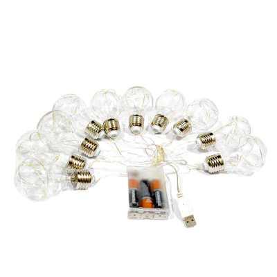 Varal Cordão Luz de Fada Bulbo LED a pilha ou usb