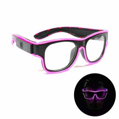 Óculos Geek Neon Lente transparente Recarregável via USB