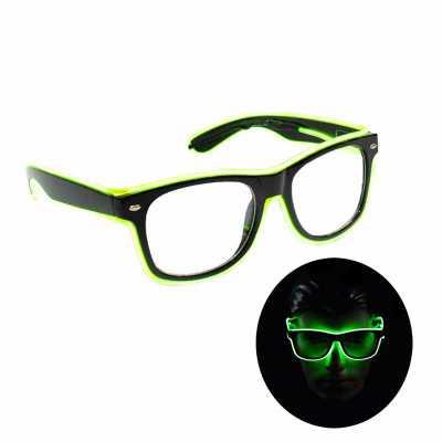 Óculos Geek Neon Lente transparente com funcionamento a pilha