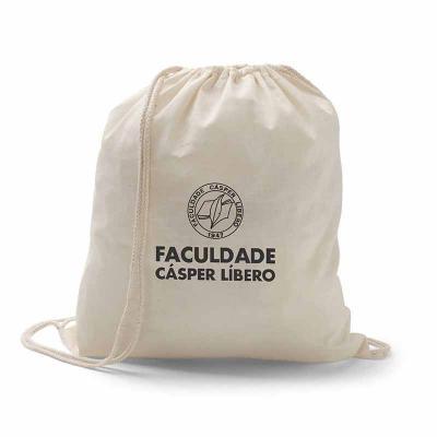 Mochila Saco / Sacochila de Algodão com Alça Regulável, produzida 100% algodão, 37x41cm