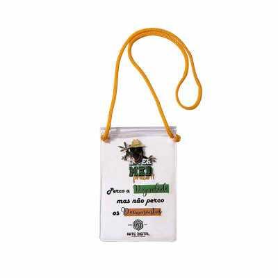 - Porta Documento Zip Zap com Cordão , produzido em Sarja Translucido Fosco 030mm, Zip Zap Transparente, Cursor