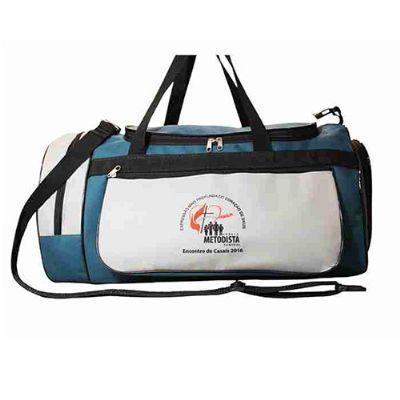 Megga Promo - Bolsa de viagem costurada com alça de mão e ombro com porta-tênis.