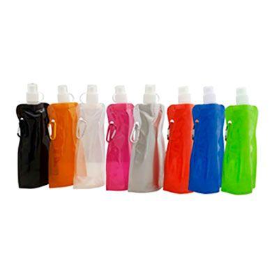 - Squeeze dobrável com mosquetão, material de plástico. Capacidade para 480 ml. Gravação: silk.