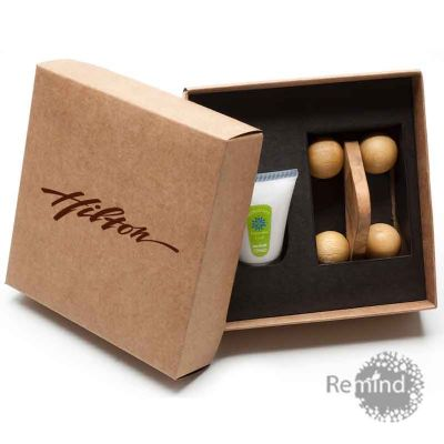 Remind Brindes Inteligentes - Kit Massageador com Embalagem de Hidratante de 30 ml