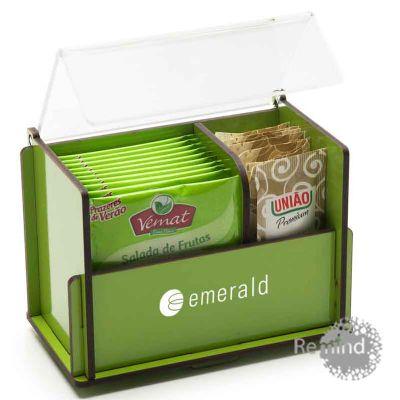 Caixa de Chá e Adoçante - Caixa de Madeira com Tampa de Acrílico - Remind Brindes Inteligentes