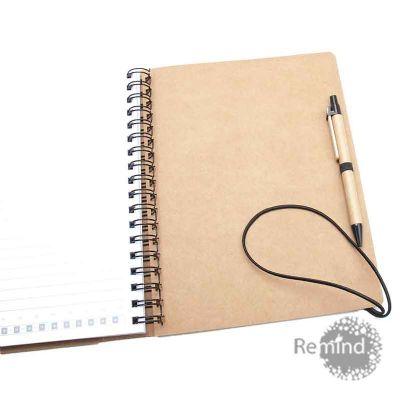 Caderno com capa Kraft com fecho de elástico com bolsas internas