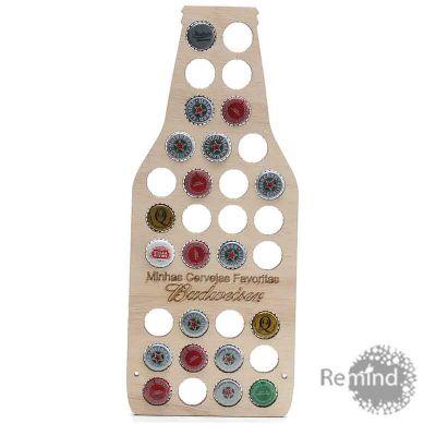 Suporte de Madeira para Colecionar Tampinhas de Cervejas Personalizado - Bottle