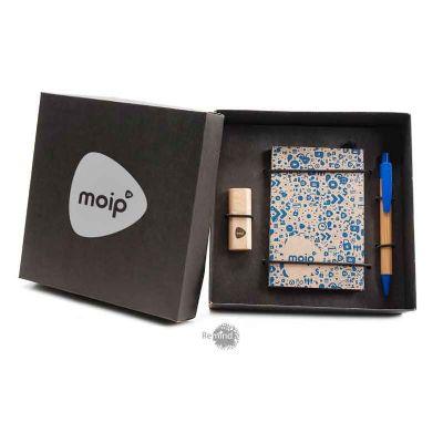 Remind Brindes Inteligentes - Kit Caderneta com Pen Drive e Caneta de Bambu