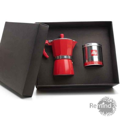 Kit Cafeteira Vermelha Tipo Italiana de 6 doses com Lata de Café Illy de 125 g Personalizado