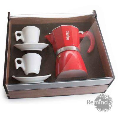 Kit Cafeteira Vermelha Tipo Italiana 6 doses com 2 xícaras Design na Caixa de Madeira - Remind Brindes Inteligentes