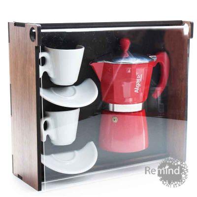 Kit Cafeteira Vermelha Tipo Italiana 6 doses com 2 xícaras Design na Caixa de Madeira