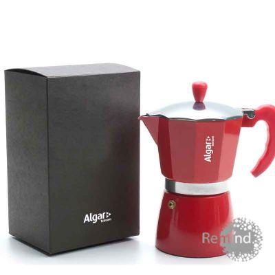 Cafeteira Vermelha Tipo Italiana de 6 doses na Caixa de Papel Kraft Preta - Remind Brindes Inteligentes