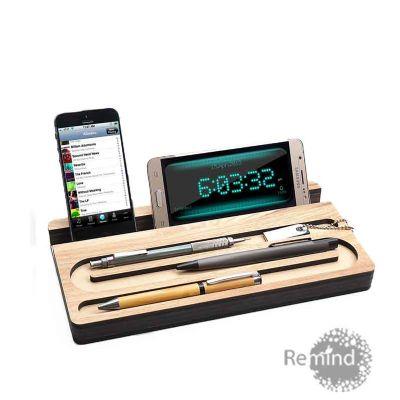 Remind Brindes Inteligentes - Suporte personalizado de Madeira para Celular, iPads e Canetas