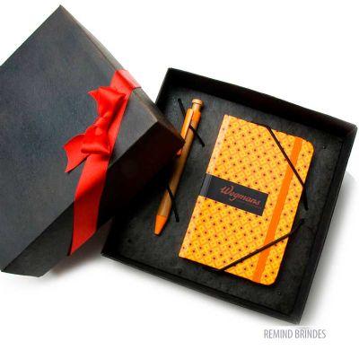 Remind Brindes Inteligentes - Kit Caderneta tipo Italiana - mosaic com caneta de bambú Ecológica - Lar