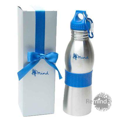 Squeeze de Alumínio com Mosquetão e Caixa - Azul - Remind Brindes Inteligentes