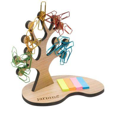Remind Brindes Inteligentes - Árvore porta clips magnética confeccionada em madeira MDF ecológica com certificação FSC. A árvore e a base são cortadas a laser e possui ímãs acoplad...