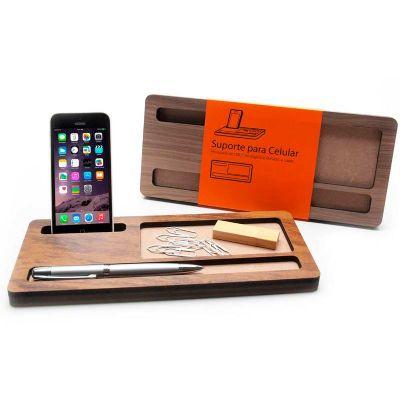 Suporte personalizado de madeira para celular, caneta e clips
