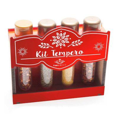Kit tempero com 4 ampolas na caixa de madeira