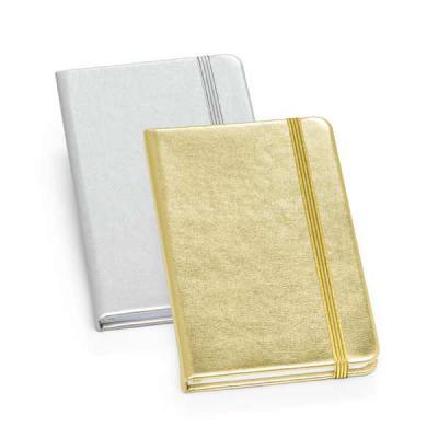 Brindes de Luxo - Caderno capa dura em couro sintético dourada ou prateada. Com 80 folhas não pautadas. Tamanho A6 - 90 x 140 mm. Personalização em UV digital ou serigr...