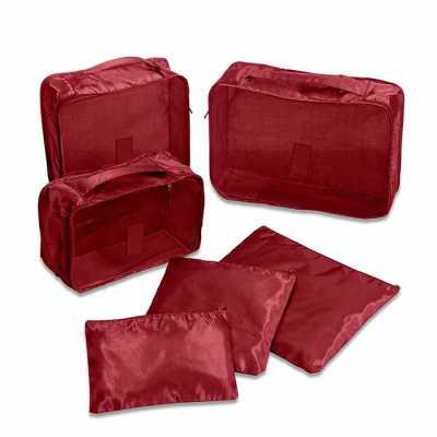 Kit necessaire organizadores de mala com 6 peças confeccionadas em nylon. O conjunto de necessaires possui tamanhos diferenciados, sendo 3 unidades co... - Brindes de Luxo