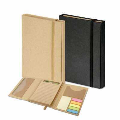 Kit para escritório com caderno (80 folhas pautadas em papel reciclado), 6 blocos adesivados (25 folhas cada), 1 régua de 12 cm, 1 esferográfica em pa... - Brindes de Luxo