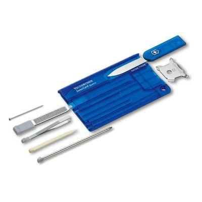 Brindes de Luxo - SwissCard Victorinox Classic Azul Translúcido. Tamanho de um cartão de crédito com multi-ferramenta é perfeito para o homem prático. Vem com impressio...
