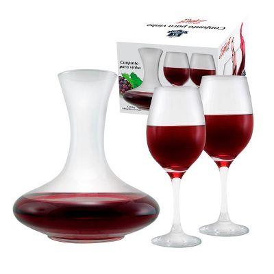 Brindes de Luxo - Conjunto de vinho com decanter e taças - 3 Peças
