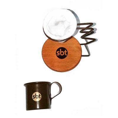 Brindes de Luxo - Mini Coador de café personalizado com suporte de metal. Ideal para um delicioso cafezinho feito na hora e sem desperdício. O suporte é feito de metal...
