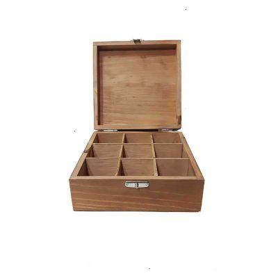 Studio Blomma - Embalagem de Madeira Personalizada. Caixa quadrada para guardar chá e outros pequenos objetos. Confecionado em madeira pinus com abertura tipo baú. Po...