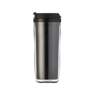 """Copo plástico 350ml porta foto. Possui tampa plástica com """"alavanca"""" para abrir/fechar compartimento para beber. Copo preto em pvc, basta rosqueá-lo p... - MR Cooler"""