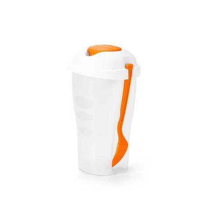 MR Cooler - Copo para salada personalizado. Feito em  PP. Com garfo e molheira. Capacidade: 850 ml. Tamanho ø110 x 190 mm